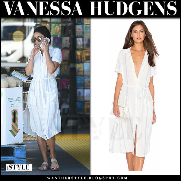 Vanessa Hudgens in white striped shirt dress what she wore streetstyle