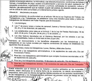 Lunes 7 de noviembre día del obrero educacional día no laborable y no negociable
