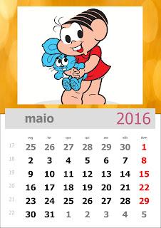 Calendário Turma da Mônica 2016 Maio