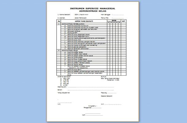 Contoh Instrumen Supervisi Manajerial Administrasi Kelas Kurikulum 2013 SD
