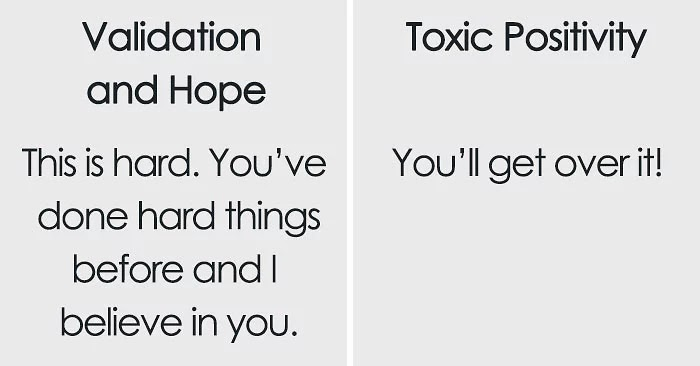 Therapist Describes The Crucial Difference Between Support And 'Toxic Positivity' Using A Simple Chart