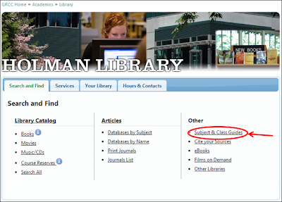"screenshot of Holman Library homepage and ""subject and class guides"" link"
