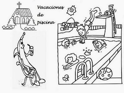 Dibujo De Unas Vacaciones Y Una Piscina Llena De Niños Para Colorear