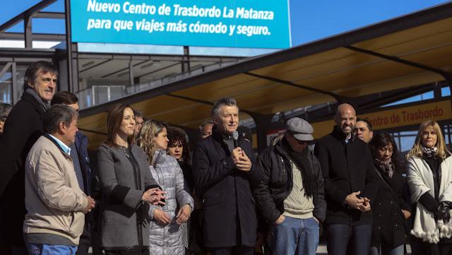 Macri y Vidal inauguraron un centro de trasbordo de transporte público en La Matanza