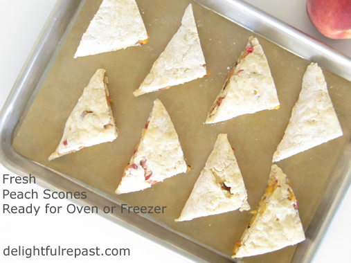 Fresh Peach Scones to Bake Now or Freeze / www.delightfulrepast.com