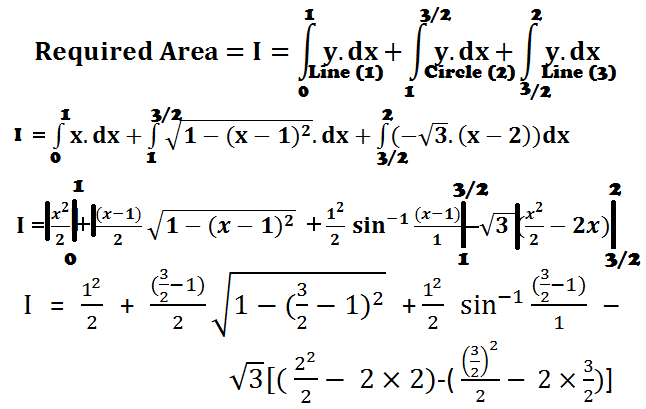 HOW TO FIND AREA  BOUNDED BY  THREE LINES AND  CIRCLES