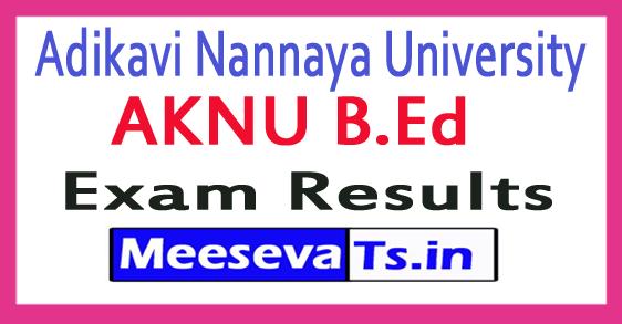 Adikavi Nannaya University AKNU B.Ed Exam Results