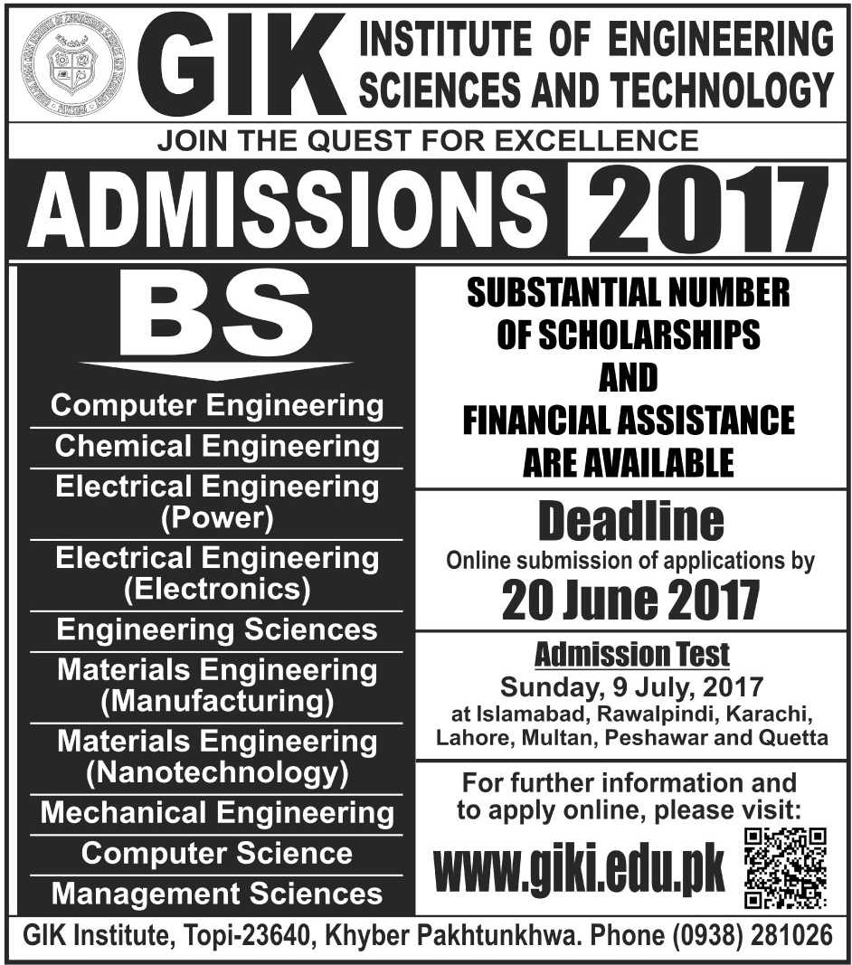 admission open ghulam ishaq khan institute of engineering sciences and technology