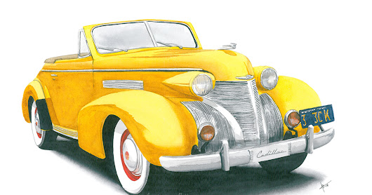 39 Cadillac - watercolor