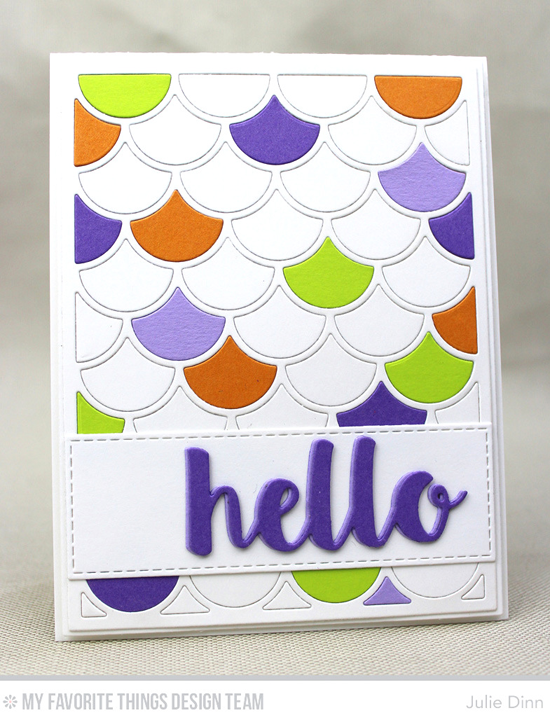 Scallop Hello Card by Julie Dinn featuring the Hello There, Dainty Scallop Cover-Up, Horizontal Stitched Strips, and Blueprints 2 Die-namics #mftstamps