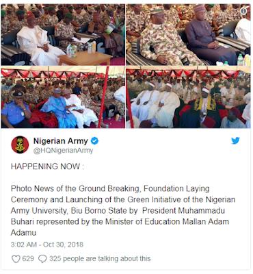 Buhari lays foundation of Nigeria Army University in Borno - See Photos