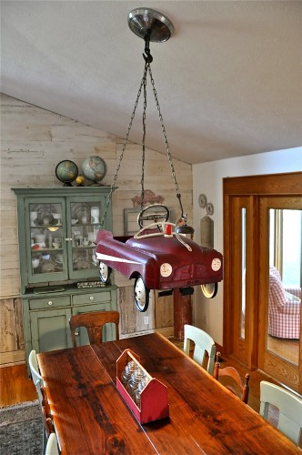 Pedal car chandelier by Bungalow 47 via Funky Junk Interiors