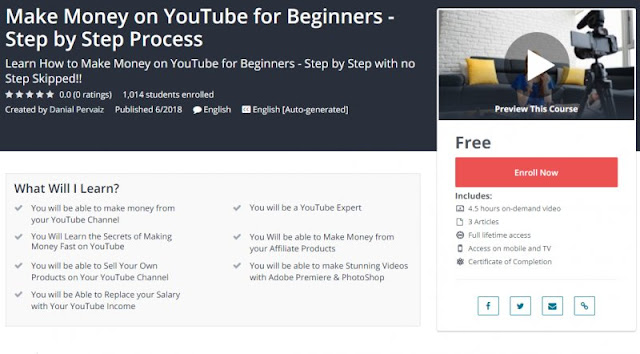 [100% Free] Make Money on YouTube for Beginners - Step by Step Process