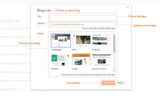 Step to Create Blog