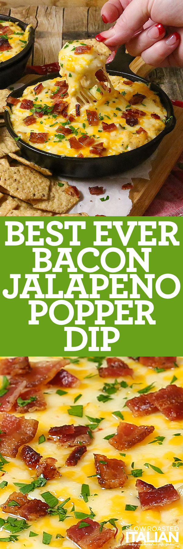 titled image for Pinterest (and shown): best ever jalapeno popper dip