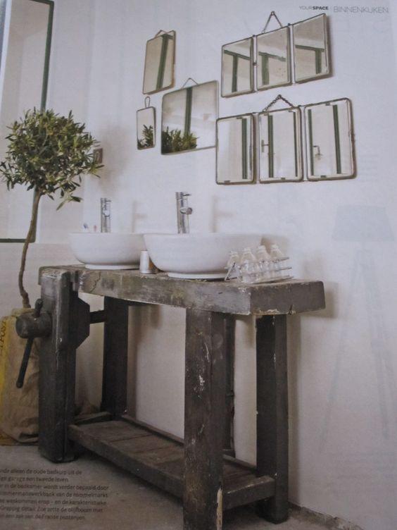 Interieurinspiratie de mooiste oude houten werkbanken linlivin - Oude keuken wastafel ...