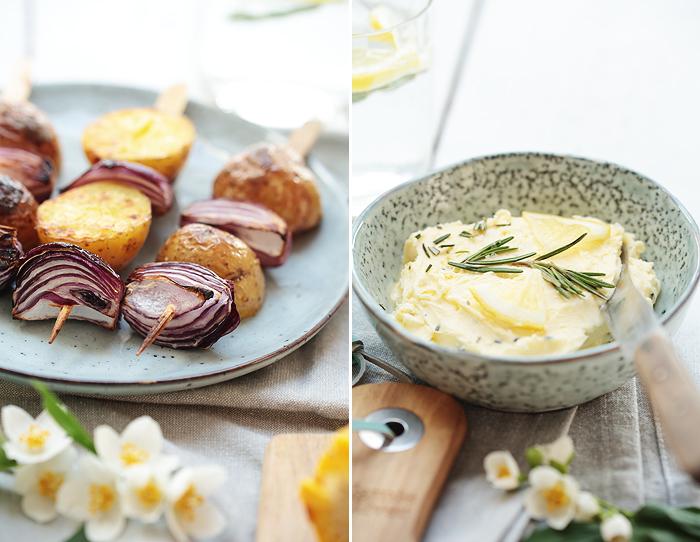 Grillzeit: Kartoffelspieße und Zitronen-Rosmarin-Butter vegetarisch