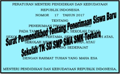 Surat Permendikbud Tentang Penerimaan Siswa Baru Sekolah TK SD SMP SMA SMK Terbaru