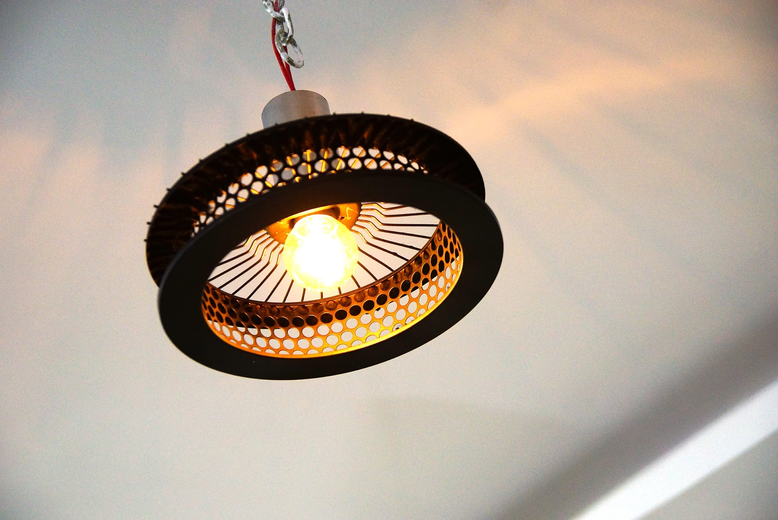 Aziz siddiqui diy ceiling light from car air filter for Homemade ceiling lamp