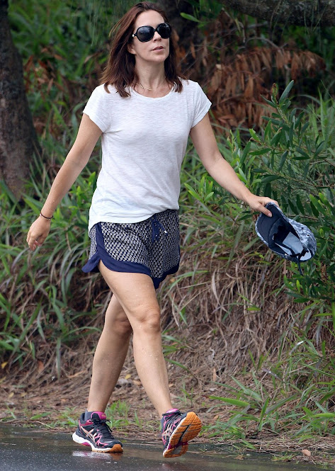 Crown Princess Mary was spotted jogging along a path to local tourist attraction the Cape Byron Lighthouse