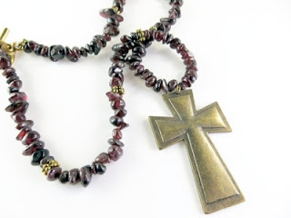 Beaded Cross Necklace in Garnet