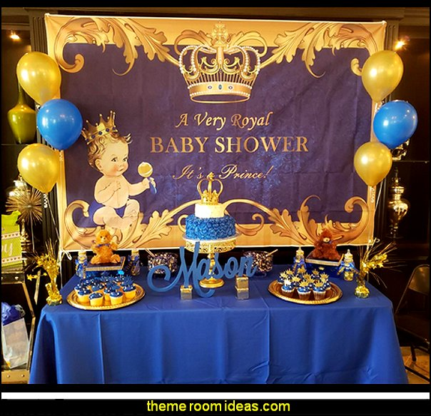 Royal Prince Baby Shower Backdrop   Little Prince party decorations - Prince Baby Shower - Little Prince Birthday Party supplies -  Little Prince Baby shower cake - Little Prince gold crown cake topper - royal king themed party - Prince themed party - Royal Prince themed baby shower  - Prince and king themed birthday party - Royal themed decorations
