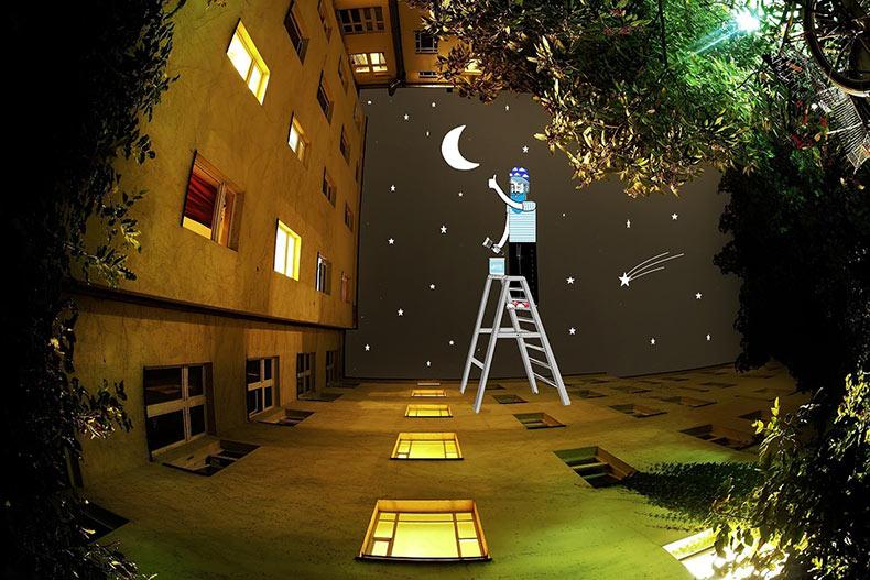 Ilustrador continúa imaginando extraños habitantes que viven en el cielo entre los edificios