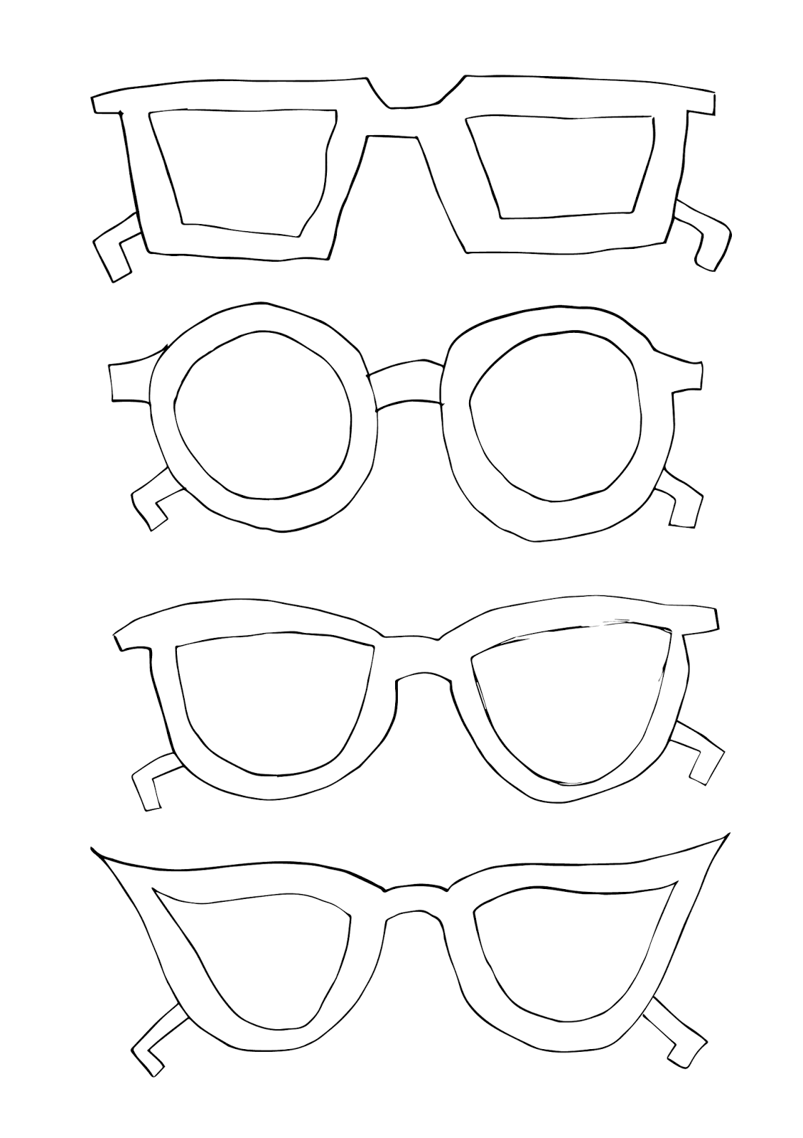 Glasses Template Cut Out Sketch Coloring Page