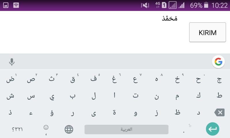 cara menulis arab di hp android