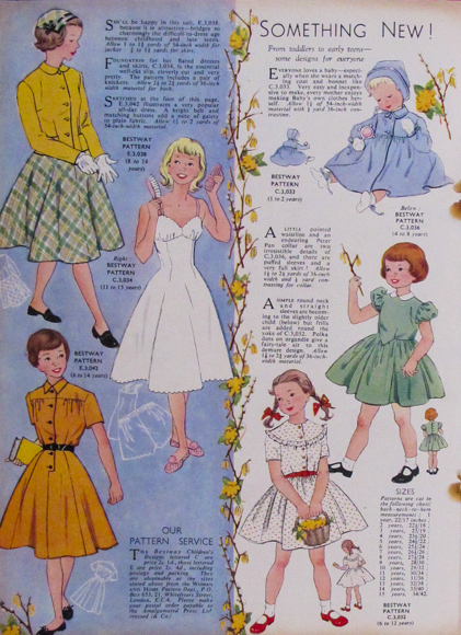 Something New!  From toddlers to early teens - designs for everyone.  Woman and Home March 1956