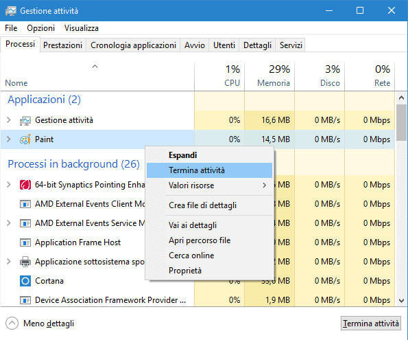 Task Manager Windows 10 - 8 scheda Processi