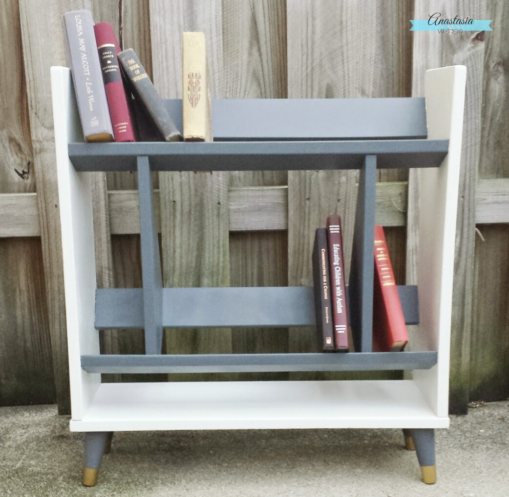 mid century modern vintage bookcase painted