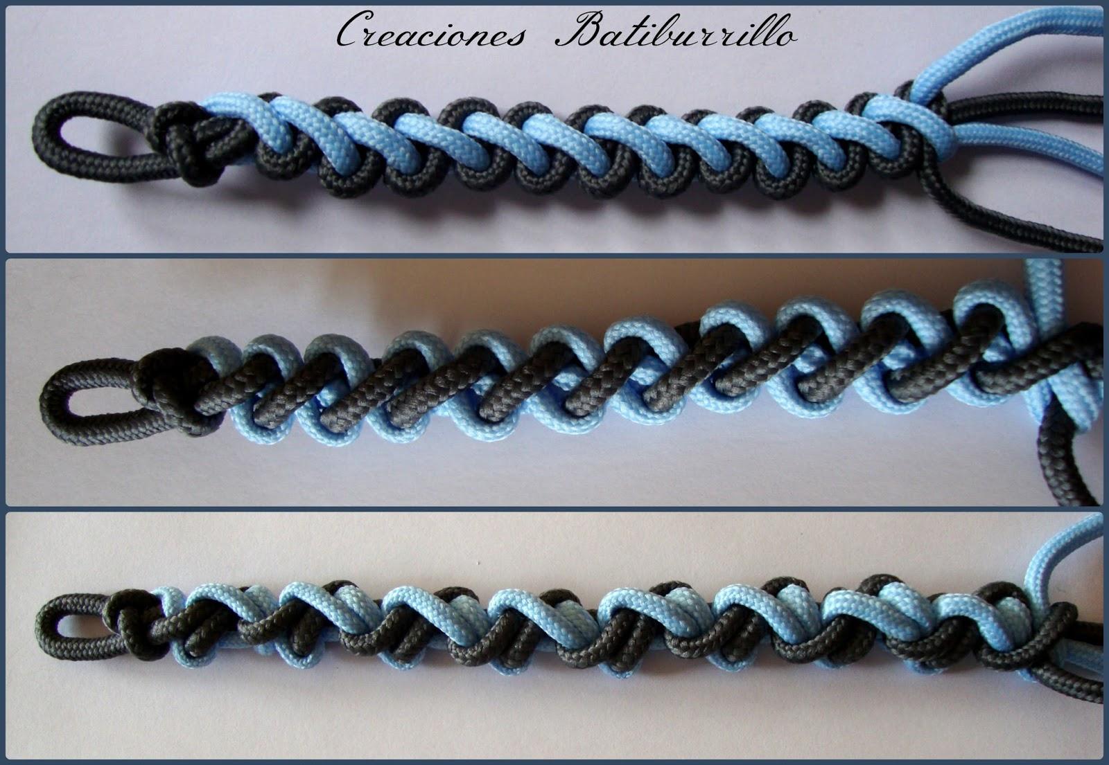 En la foto podéis ver juntas como quedan tres muestras, con el nudos a  derecha, a izquierda y alternando uno a derecha y otro a izquierda.
