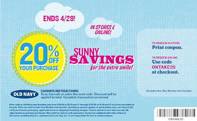 966373a18f5 Old Navy Canada  20% Off Your Purchase In-stores   Online Sale (April 29)