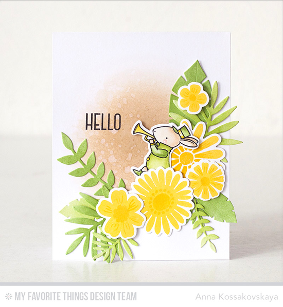 Bugle Bunny Hello Card by Anna Kossakovskaya featuring the Large Desert Bouquet and Birdie Brown Strike up the Band stamp sets and Die-namics, the Lisa Johnson Designs Spring Wreath stamp set, and the Wild Greenery Die-namics #mftstamps