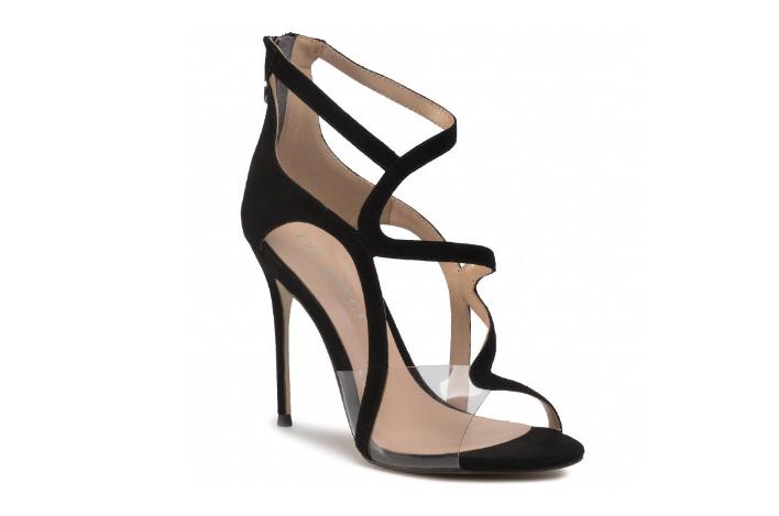 Sandale negre cu toc inalt de ocazii foarte elegante din piele de antilopa