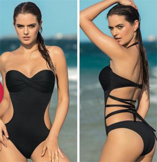 Trikini sin tirantes con lazos elasticos en la espalda de Leonisa 2017