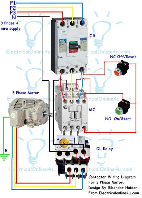 Contactor Wiring Guide For 3 Phase Motor With Circuit Breaker Overload Relay Nc No Switches Electricalonline4u