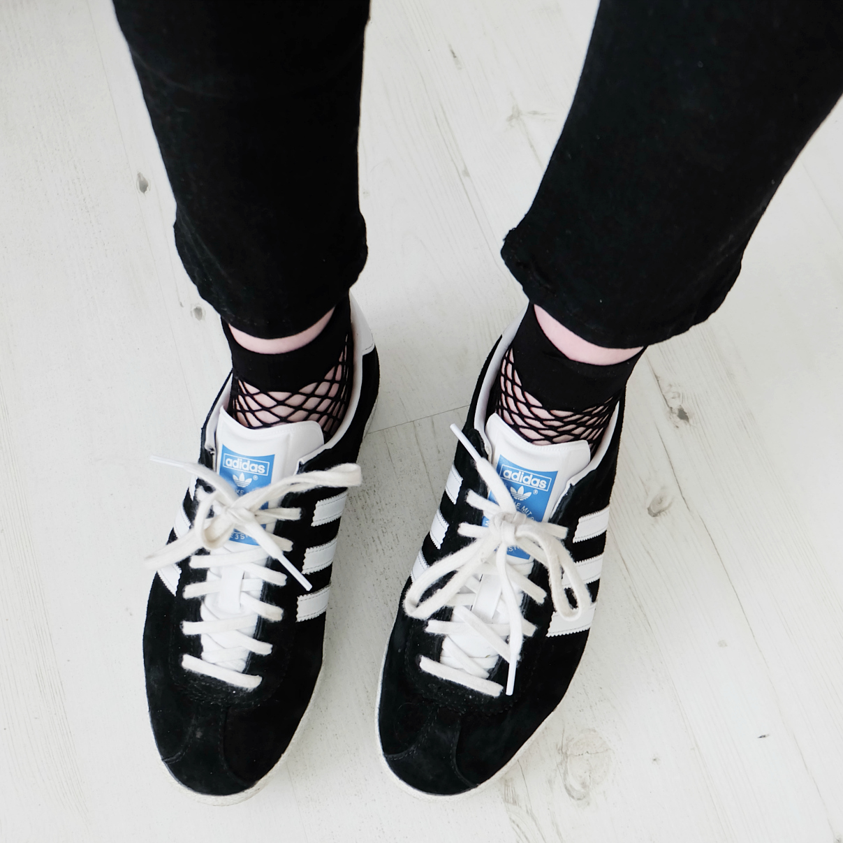 adidas gazelles, fishnet socks