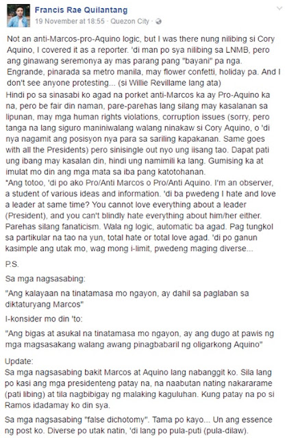 FEU Professor Claims that Marcos' Burial Was Not As 'Heroic' As Aquino's. Cory Did Not Deserve That Ceremony.