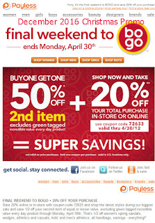 Payless Shoes coupons for december 2016