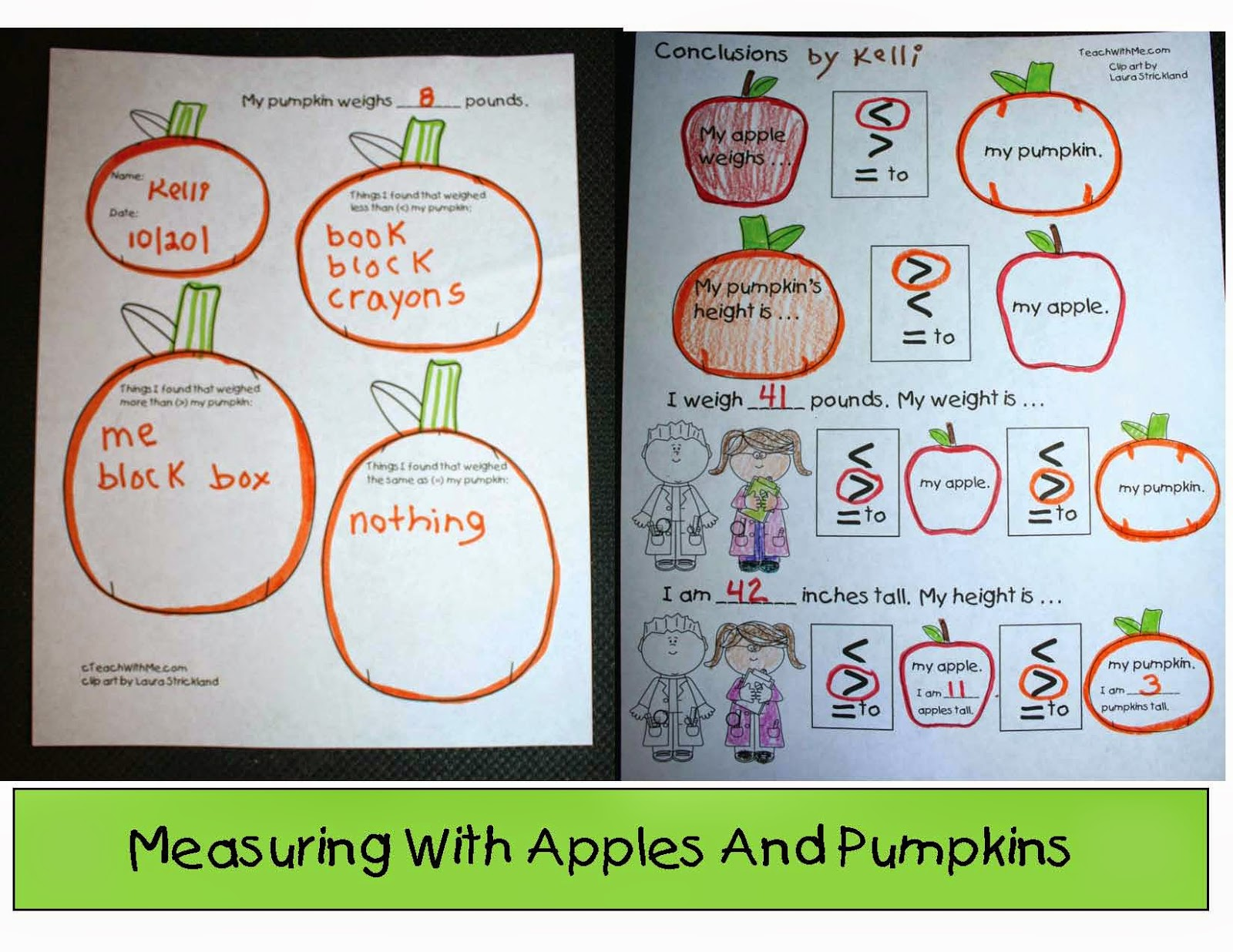Classroom Freebies Measuring Apples And Pumpkins