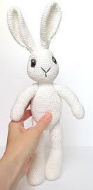 amigurumi crochet easter bunny in overalls
