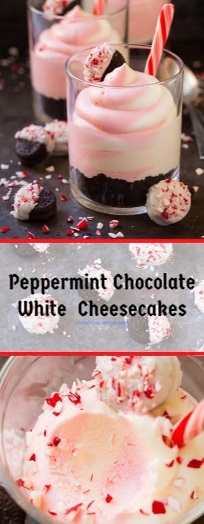 No Bake Peppermint Chocolate White Cheesecakes #christmas #dessert