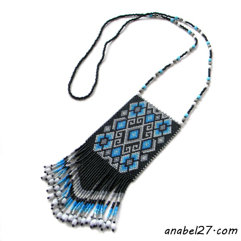 купить этническое украшение на шею из бисера гердан
