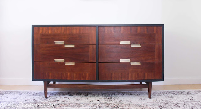 Funky two tone Mid Century Modern Dresser Makeover