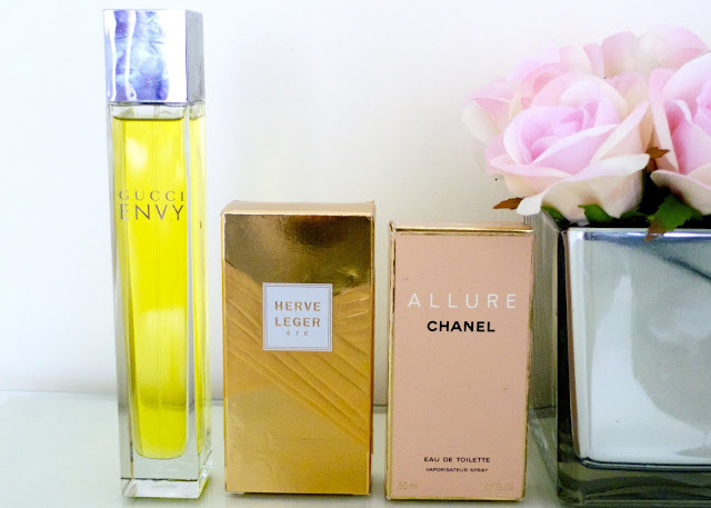 Favourite perfume scents: Gucci Envy, Herve Leger Ete, Chanel Allure