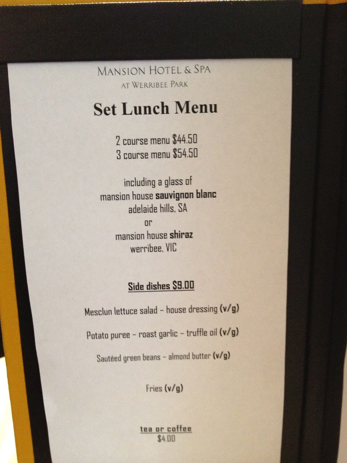 Werribee Mansion Restaurant Menu