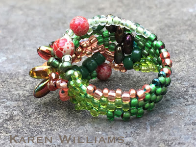 Backside view of 'Trees Budding' freeform peyote ring by Karen Williams