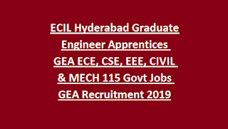ECIL Hyderabad Graduate Engineer Apprentices GEA ECE, CSE, EEE, CIVIL & MECH 115 Govt Jobs GEA Recruitment 2019